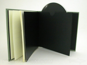 linen cd hard bound book black fly sheets cream paper swinging sleeve